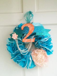 Hand dyed Mermaid wreath adorned with by TheKnockKnockFactory, $50.00