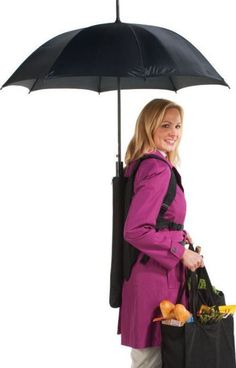 Weird or genius? (I'd try it.) Hands free umbrella! // Genius for someone who has to walk while carrying lots groceries or pushing a pram. Now where can I buy it?! #product_design