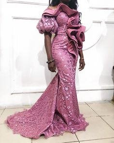 Latest Aso Ebi Lace Styles 55 Aso Ebi Styles That Will Inspire You This Weekend Aso Ebi Lace Styles, Lace Gown Styles, African Lace Styles, African Lace Dresses, Latest African Fashion Dresses, Lace Styles For Wedding, Ankara Styles, Nigerian Lace Dress, Nigerian Dress Styles
