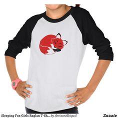 Sold! Thank you to the customers! Sleeping Fox Girls Raglan T-Shirt; ArtisanAbigail at Zazzle