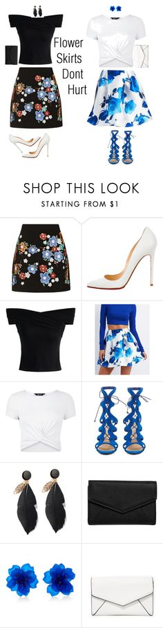 """""""Flower Skirts Don't Hurt"""" by imonia-little ❤ liked on Polyvore featuring Topshop, Christian Louboutin, Chicwish, Charlotte Russe, New Look and LULUS"""