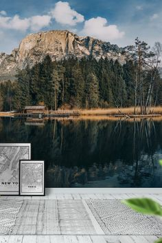 Mountain lake view Wall Mural - Wallpaper