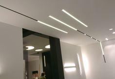Linear profiles Linear Lighting, Lighting Design, Track Lighting, Delta Light, Light Architecture, Hanging Lights, Ceiling Lights, Mirror, Interior Design