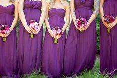 long plum bridesmaid dresses #strapless #purple