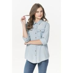 Baby blue wash denim button down shirt Girl Outfits, Cute Outfits, Fashion Outfits, Womens Fashion, Denim Button Down, Button Downs, Shirt Blouses, Shirts, Shirt Shop