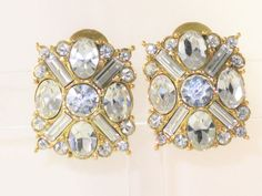 Vintage Monet Gold Tone Clear Rhinestone by delightfullyvintage