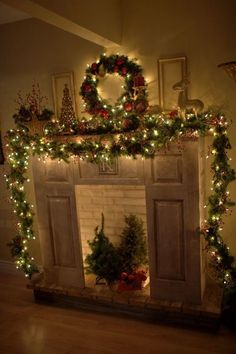 2015 Christmas Fireplace Lighting Decorations, Cozy Holiday Corner, This Christmas mantle decor is simple yet beautiful! Christmas Time Is Here, Christmas Love, Winter Christmas, Christmas Lights, Merry Christmas, Victorian Christmas, Christmas Trees, Vintage Christmas, Christmas Ornaments