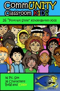 "With 26 (plus 26 BW versions) adorable ""portrait style"" kindergarten characters, the possibilities are endless! Flyers, classroom games, center activities, and your own TPT products can be enhanced with these fun and diverse characters! Sizes are about 3"" by 5"" with some slight variation.This Kindergarten CommUNITY set presents an alternate version of the Illumismart Alphabet Kids, without the names and symbols."