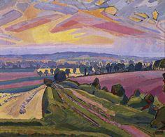 Spencer Gore 'The Icknield Way' 1912. Gore used the simple but highly effective compositional device of a straight path, track or road heading directly away from the viewer's standpoint in several Letchworth canvases, notably The Icknield Way 1912 (fig.1) and Letchworth, The Road 1912 (fig.2), although in both of these the direction is more diagonal than in The Cinder Path.
