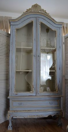 secret garden: French site.blue and grey painted wardrobe