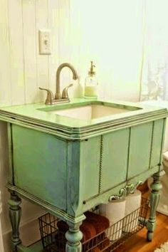 The Search for America's Best Remodel This Old House A repurposed sewing machine cabinet is now a bathroom vanity. Repurposed Furniture, Painted Furniture, Refurbished Furniture, Furniture Makeover, Diy Furniture, Furniture Vanity, Bathroom Furniture, Antique Furniture, Modular Furniture