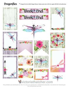 Free Printable Dragonflies Planner Stickers from Victoria Thatcher