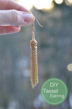 diy tassel, idea, craft, diy gold, diy jewelri, tassels, gold tassel, earrings, tassel earring