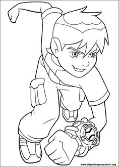 Ben 10 Running And Ready For Change Coloring Pages Kids Printable