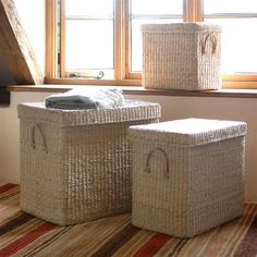 Set of three woven storage chests from The Cotswold Company