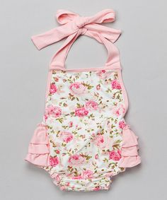 Look what I found on #zulily! Pink Floral Halter Bubble Romper - Infant by Under The Hooded Towels #zulilyfinds
