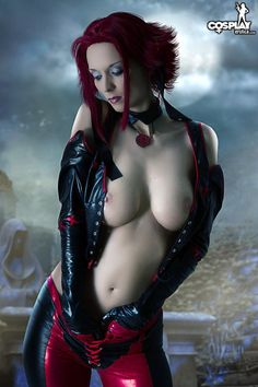 Naked bending goth girl