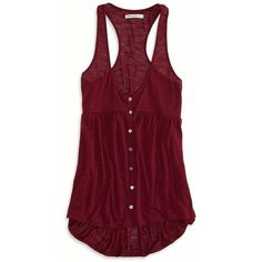 American Eagle Button Front Tank ($15) ❤ liked on Polyvore featuring tops, shirts, tank tops, tanks, summer burgundy, racer back tank, racerback tank, button front shirt, summer tank tops and v neck tank