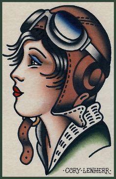 Old school style female bomber pilot tattoo flash art - Cory Lenherr AZ Pinup Tattoos, Head Tattoos, Body Art Tattoos, Sleeve Tattoos, Biker Tattoos, Dragon Tattoos, Tattoo Ink, Arm Tattoo, Tattoo Girls