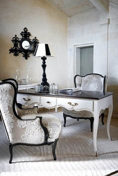 thedecorista:    my new dream workspace… Love the chairs - look for this fabric...