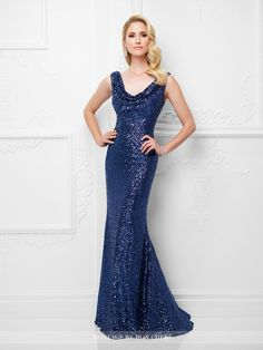 Montage by Mon Cheri - 117914 - Sleeveless allover sequin trumpet gown with scooped cowl neckline, scooped back, sweep train.Sizes: 4 – 20Colors: Indigo,Black, Chocolate