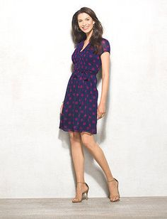 Polka Dot Button-Front Pleated Dress