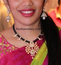 Black Dori Necklace with Diamond Pendant photo Beaded Jewelry Designs, Indian Jewellery Design, Gold Earrings Designs, Indian Jewelry, Gold Jewelry, Gold Designs, Bridal Jewellery, Necklace Designs, Diamond Jewelry
