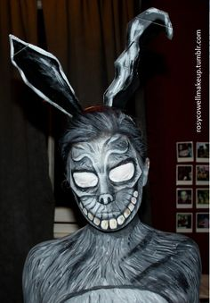 Frank's bunny costume from Donnie Darko using face paints (Mehron) http://www.reddit.com/r/MakeupAddiction/comments/2bv5dr/franks_bunny_costume_from_donnie_darko_using_face/