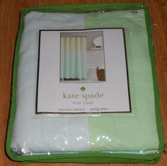 Kate Spade Shower Curtain Spring Street Aqua NEW Bath #katespadenewyork