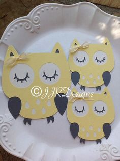 Items similar to Owl Cut Outs - Owl Die Cut- Yellow/Gray Owl- Birthday Party-Baby Shower Owl-Diaper Cake Owls- Centerpiece Owls on Etsy Owl Parties, Owl Birthday Parties, Owl Centerpieces, Baby Shower Centerpieces, Baby Shower Parties, Baby Boy Shower, Owl First Birthday, Owl Diaper Cakes, Gray Owl