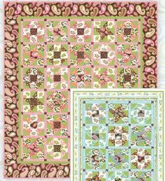 Paisley Patchwork Quilt Quilt Size: 65.5 inches wide x 75.5 inches long You can make this twin size quilt in a pink, brown, and green color scheme or a blue and green color scheme. The materials list is divided according to your fabric choices, but the pattern instructions apply to both color scheme