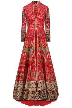 Avdi Red Embroidered Jacket Anarkali with Skirt