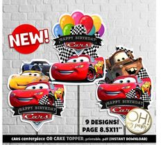 Printable & Customized Invitations and Party Decoration by ohmypartystudio Car Cake Toppers, Princess Cake Toppers, Birthday Table Decorations, Birthday Party Tables, Car Centerpieces, Birthday Cake Illustration, Disney Cars Party, Cupcakes For Boys, Birthday Cake With Candles