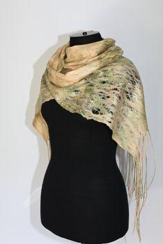 RESERVED Cobweb Felted Scarf Handmade Felt Scarf Lacy Airy Wool Silk Felt Gift