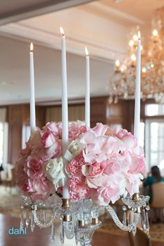 5e7a3c03c7 Candelight and flowers intertwined! Gold Wedding Centerpieces
