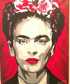 #popart #pop #art #handpainted #painting #paint #fridakahlo #frida #acrylic #acrylicpainting #canvas #manosdemoreno @manosdemoreno #blackandwhite #grey #red #redlips #flowers #purple #pink #black #white #whatdoyouthink