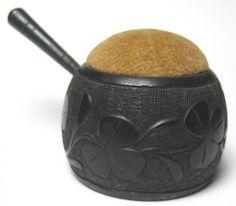BOG OAK PIN CUSHION - Pot with Handle - SHAMROCKS - Marked BLARNEY