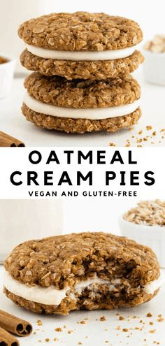 Homemade vegan oatmeal cream pies are the most delicious cookie sandwiches! A sweet vanilla frosting is sandwiched between two soft and chewy oatmeal cookies. It's a gluten-free, dairy-free, and healthier copycat recipe for the classic Little Debbie dessert! #oatmealcreampies #oatmealcookies #vegancookies #oatmealcremepies #cookiesandwiches #vegandessert #vegan
