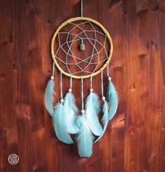Dream Catcher  Turquoise Dreams  Bohemian Dreamcatcher by bohonest #dream #catcher #boho #nest #nature #for her #bohemian #mint #green #turquoise #blue #home #decor #decoration