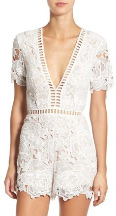 MISSGUIDED Ladder Stitch Lace Romper - $93 Perfect for the infamous white party at Nikki Beach