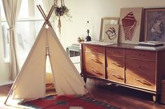 @April Long Canvas Teepee 6ft -- Fully Assembled -- Handmade Children's Play Tent. $160.00, via Etsy.