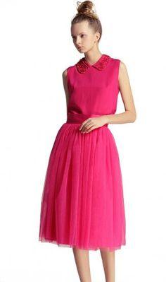 Rose Pink High Waist Mesh Yoke Flare Skirt - Sheinside.com