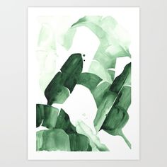 Print of an original watercolor by inspired by the iconic Martinique wallpaper in the Beverly Hills Hotel<br/>  <br/>  <br/>  keywords: Banana Leaf, Palms, Palm Print, Banana Leaves...