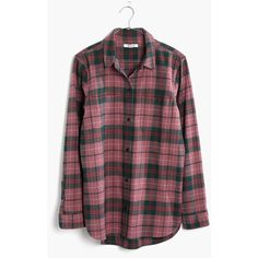 MADEWELL Flannel Classic Ex-Boyfriend Shirt in Nona Plaid ($60) ❤ liked on Polyvore featuring tops, fig, boyfriend shirt, flannel button-down shirts, plaid shirts, plaid button up shirts and flannel button up shirts