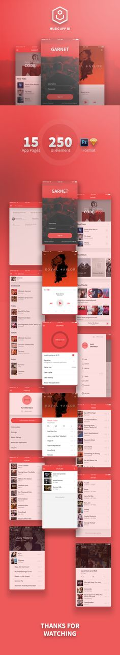 "Garnet (Music App Ui) --- Behance Presentation: -(Music-App-Ui) --- ""Garnet"" – high quality mobile music app interface, ready to use. This is Music app for Mobile Web Design, App Ui Design, Design Websites, Gui Interface, Interface Design, Conception D'interface, App Design Inspiration, Smartphone, Mobile App Ui"