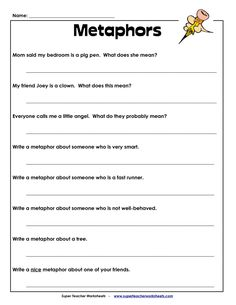 Printables Metaphor Worksheets poems with comparisons similies and metaphors the poem farm when teaching this is a great tool to use for students gain meaning in what metaphor actually means resourc