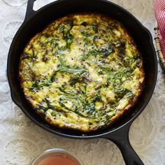 With pesto, goat cheese and arugula, this frittata feels like we're finally entering spring!