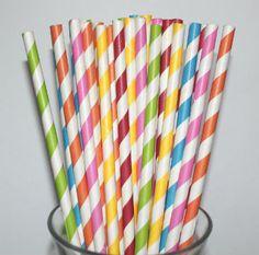Rainbow Stripe Paper Straws