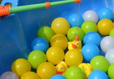 Hook a duck game in balls....