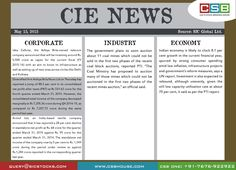 CSB CIE News: (May 15, 2015) Bringing to you important news and key highlights from corporate, industry, and economy. Don't miss the updates! To read more, visit http://www.csbhouse.com #stocks #globalnews #researchreports